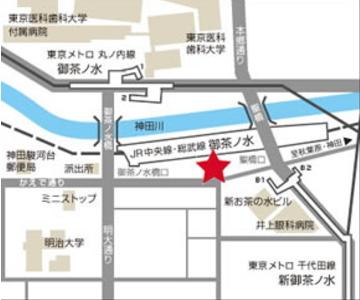 御茶ノ水駅のレンタルスタジオの地図